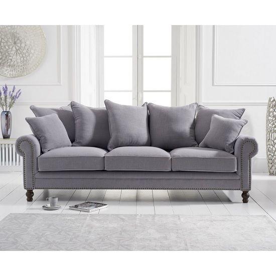 Hoffman Modern 3 Seater Sofa In Grey Linen Fabric Sofa Design Fabric Sofa Uk