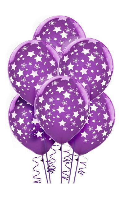 Purple star balloons (6 count)