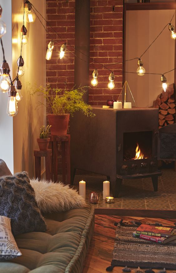 40 Living Room Decorating Ideas Stove, String lights and For the