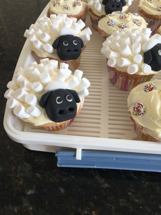 Homemade sheep cupcakes
