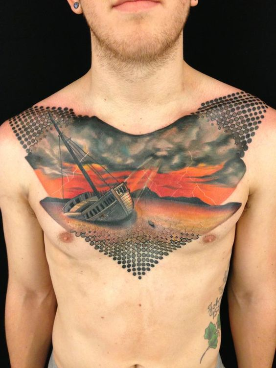 Facebook instagram chest piece and new york on pinterest for Chest mural tattoos