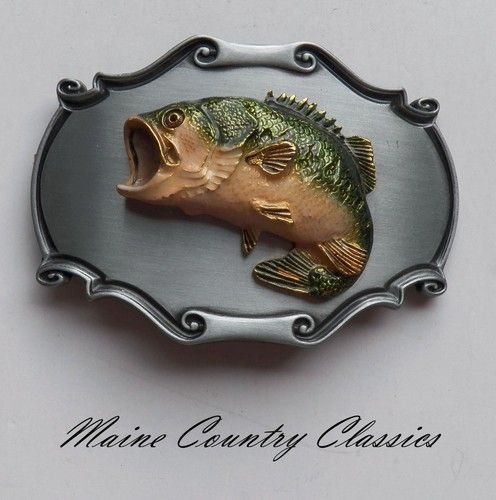 Vintage 1978 LARGE MOUTH BASS RAINTREE BELT BUCKLE Fishing Fish