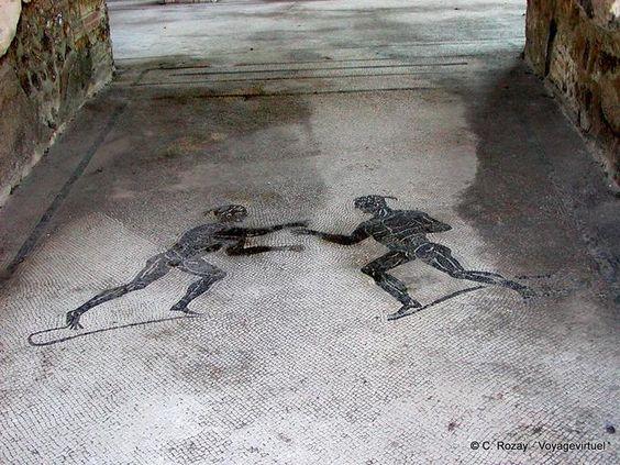Mosaiques combat d'esclaves, Pompei , Italy