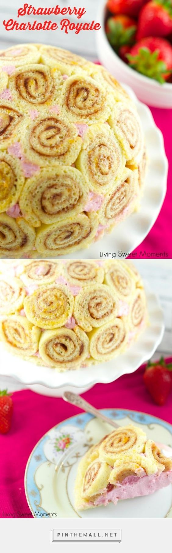 Strawberry Charlotte Royale Cake - This amazing strawberry cake is easy, delicious and beautiful. Jelly roll slices are filled with Berry Bavarian Cream. - created via http://pinthemall.net