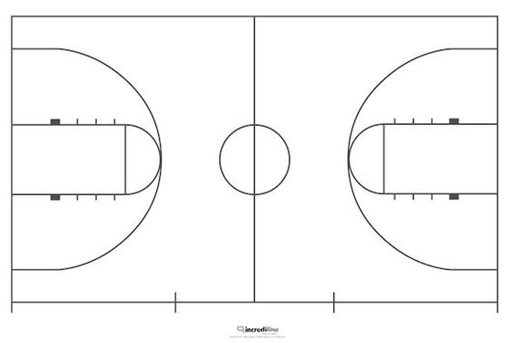 Printable basketball court dimensions incrediwall for Basketball court wall mural
