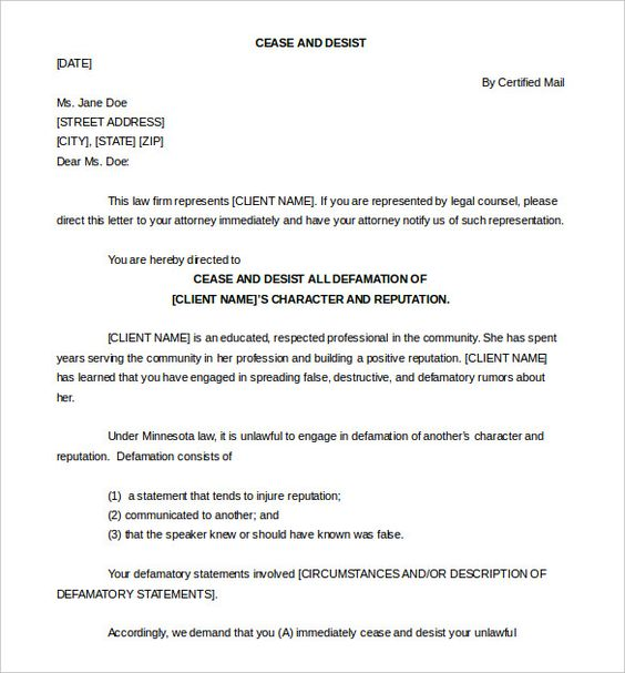 cease and desist letter template free sample example format - cease and desist template