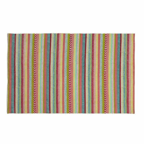 Tapis A Rayures En Coton Multicolore 120 X 180 Cm Maisons Du Monde Tapis A Rayures Tapis Tapis Multicolore
