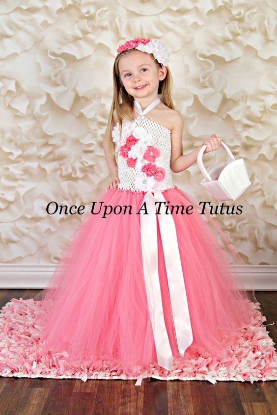 Pink White Flower Girl Tutu Dress  Spring by OnceUponATimeTuTus