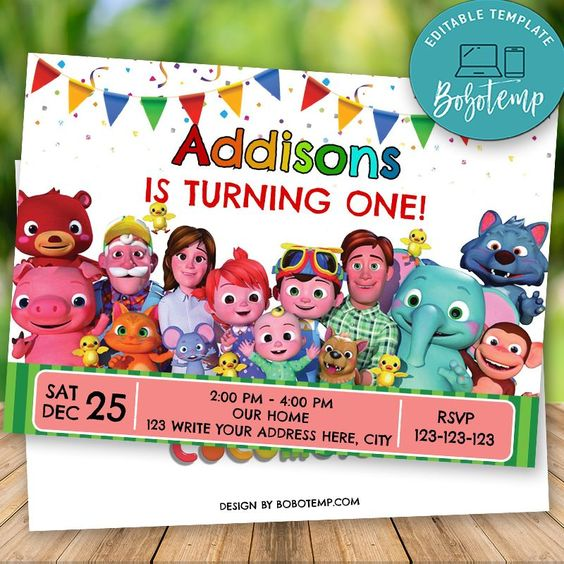 printable cocomelon birthday invitation