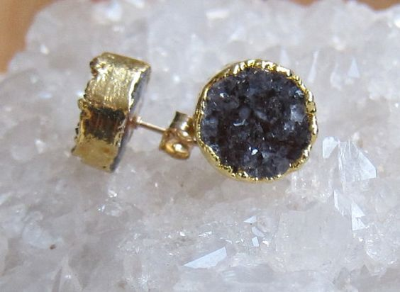 Dark Purple Gray Druzy Coin Studs