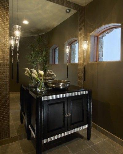 floor to ceiling mirror behind vanity shelf or on side wall of powder ...