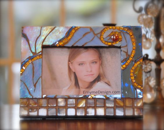 blue magical sky.... handmade mosaic frame by Ernymedesign on Etsy, $45.00