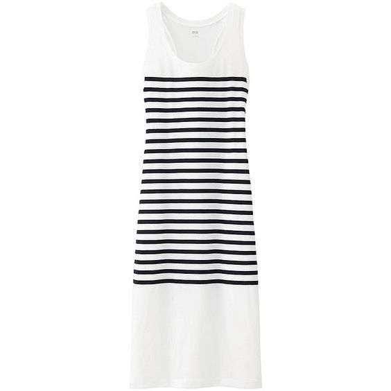 UNIQLO Striped Long Sleeveless Dress (71 ARS) ❤ liked on Polyvore featuring dresses, long white dress, uniqlo, colorblock dress, racerback dress and nautical dress