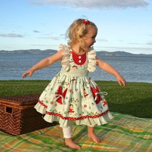 SALE...Buy 2 get 1 free..Ruthie's Picnic Dress Girl's Retro Ruffled Bodice ..Instant Download PDF Sewing Pattern, 12-18M to 6