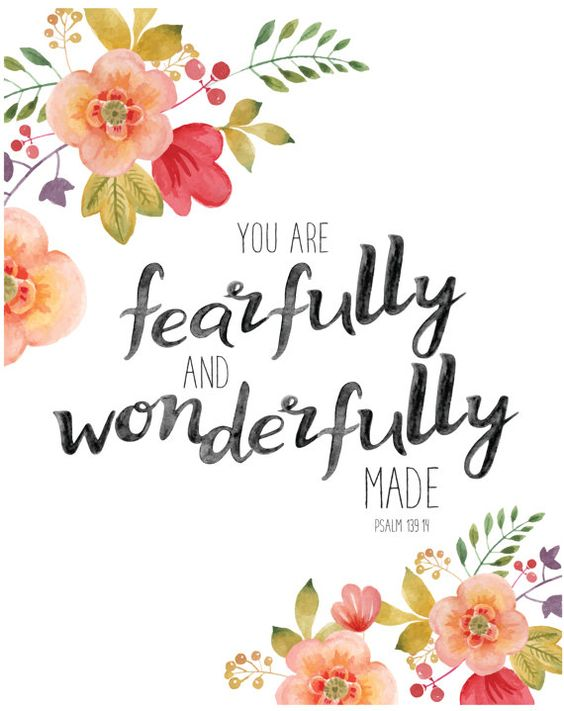Fearfully and Wonderfully Made Psalm 139 by JandODesigns on Etsy. #psalm 139. #psalm #inspiringquote #scripture