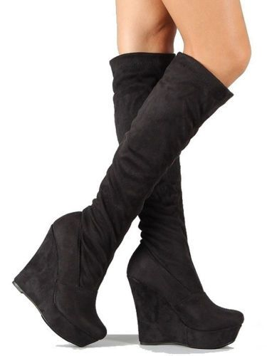 wedge heel knee high boots | Gommap Blog