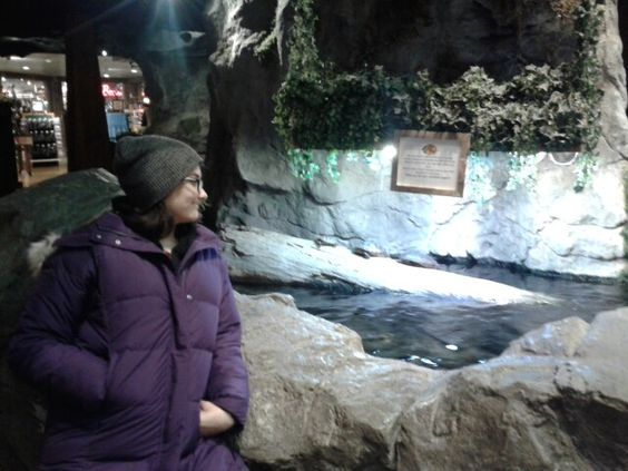 Catie checking out the turtles