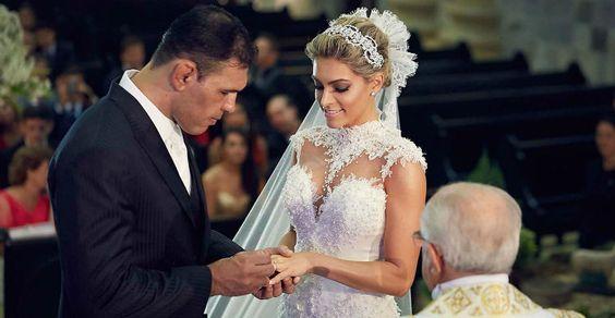 Rogério Minotouro se casa com a Miss Aline Zermiani em Santa Catarina