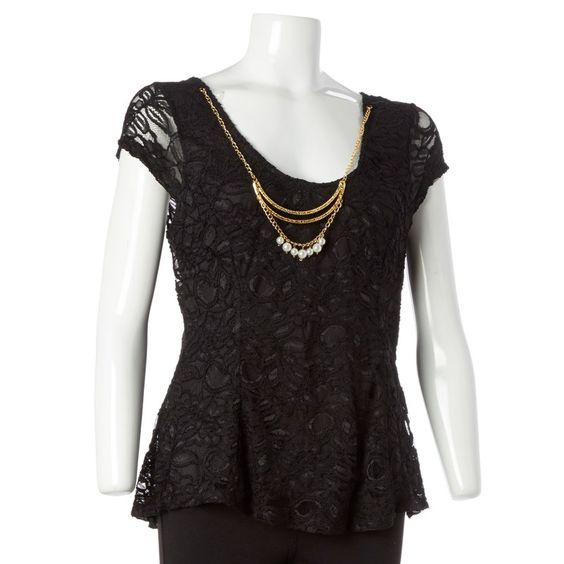 Lace Top w/ Necklace & Bow Back- Jr.