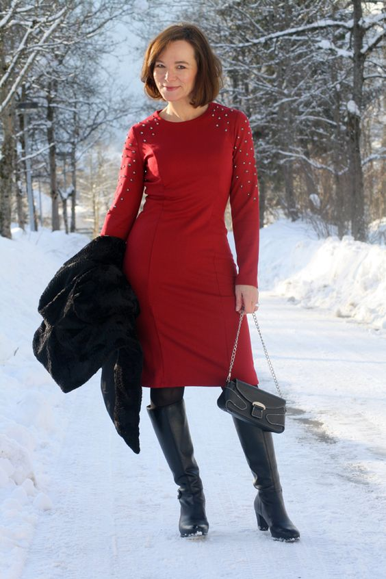 Modest Doesn 39 T Mean Frumpy Red Studded Dress Lady Of Style A Fashion