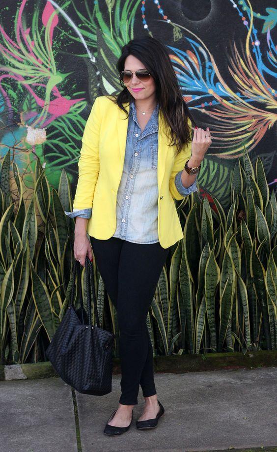 (claudinha stoco) Camisa Jeans e Blazer Amarelo!:
