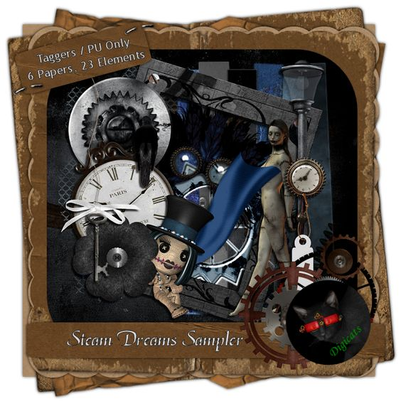 """Steam Dreams Sampler - Steampunk/Fantasy themed mini-digital taggers kit composed of 6 (800 x 800 pixel, .jpg) papers and 23 elements including 1 """"Patchwork"""" poser. 300 DPI.  Personal use only."""