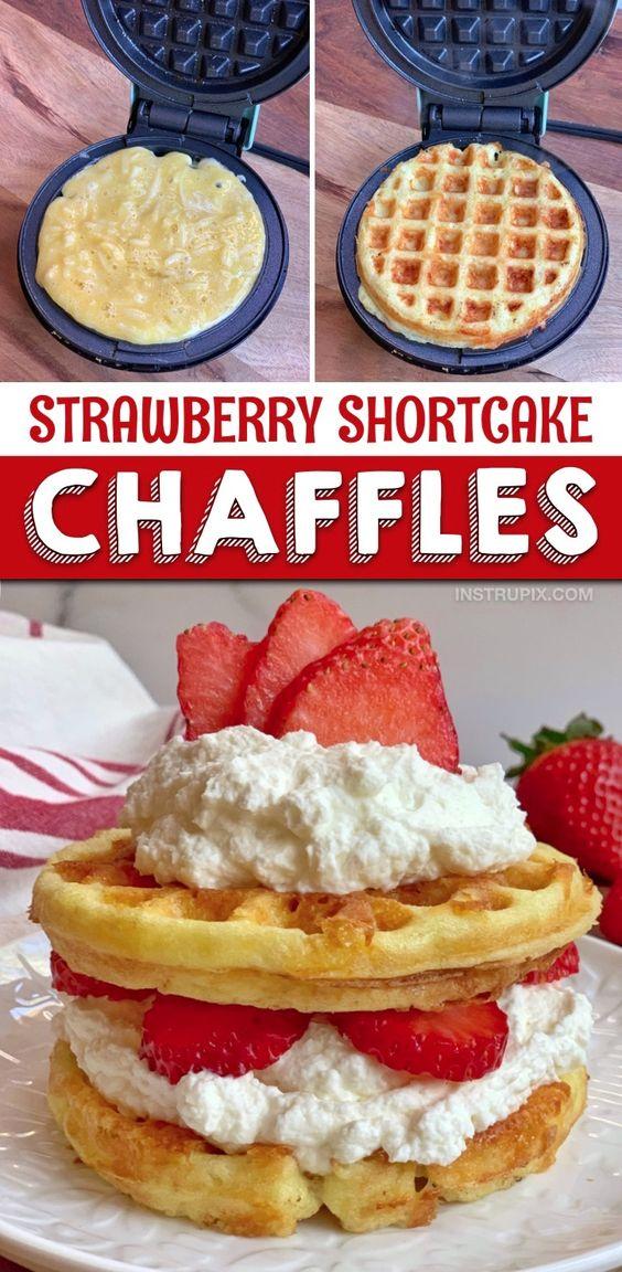 Keto Strawberry Shortcake Chaffles (Easy Low Carb Dessert Recipe!)