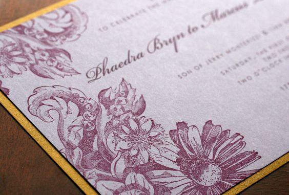 Vintage Style Hand Stamped Wedding Invitation Set. $4.90, via Etsy.