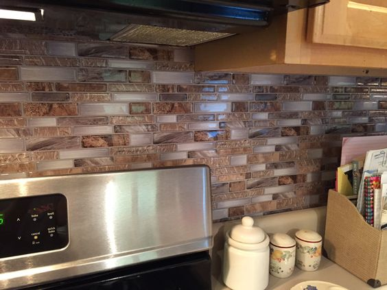Peel and stick backsplash from lowes