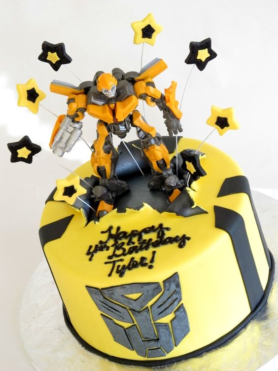 I got to make a cake for one of my favorite people this week.  I made this Transformers cake for my nephew!  Bumblebee is his favorite, so naturally that became the theme for his cake.  I purchased the figure to put on top (it was going to be one of his gifts anyway), it's covered with fondant and the decorations are fondant.  The design is my twist on a compilation of different cakes I've seen.  The top is supposed to look like torn metal, as the figure has just ripped through the cake!  I…