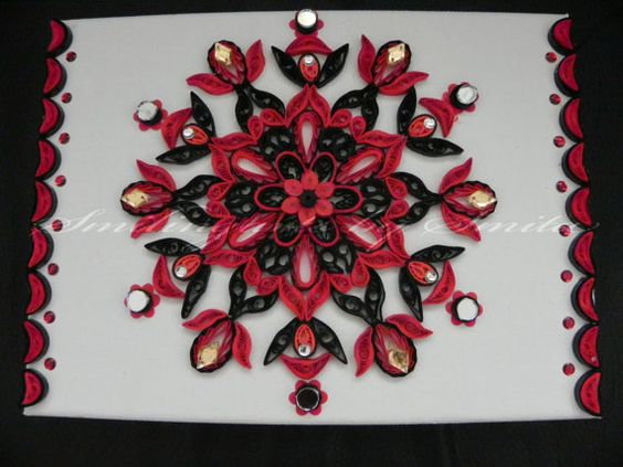 Black and red Mandala paperquilledRangoli style by Smilingarts, $40.00