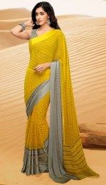 Gorgeous Yellow Color Georgette Saree