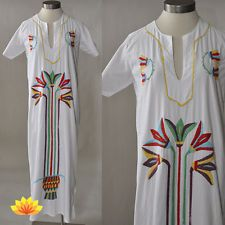 VTG 70s Long White Mexican Colorful Embroidery Maxi Dress Boho Hippie S/M