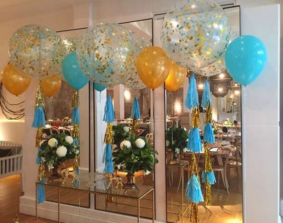 "Gold and Caribbean Blue (Aqua/turquoise) themed - 3fts with confetti and tassel, interspersed with large 16"" (40cm) balloons. I love this look!:"