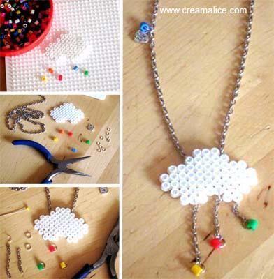 idées cadeau maitresse DIY_Collier_Nuage_en_perles_a_repasser_Hama
