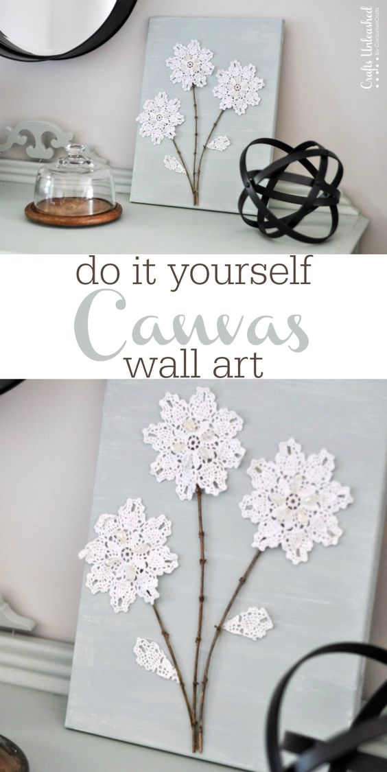 DIY Canvas Wall Art Shabby Chic Flowers
