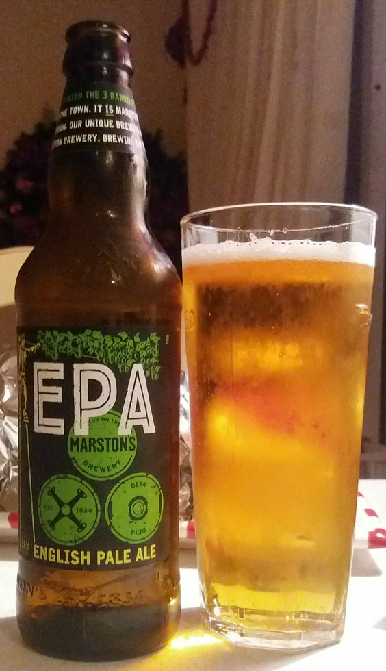EPA (English Pale Ale) from Marstons Brewery. A mildly hoppy, drinkable ale, but lacking character: a bit non-descript. 6.5/10