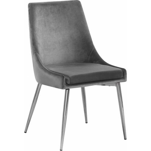 Grey Velvet Accent Chair Silver Toothpick Legs Upholstered