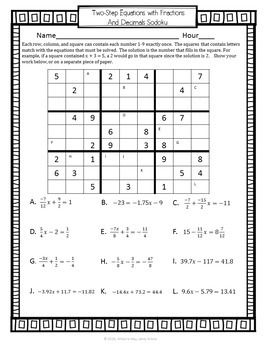 Two Step Equation Sudoku Math Game With Images Multi Step Equations Two Step Equations Solving Multi Step Equations