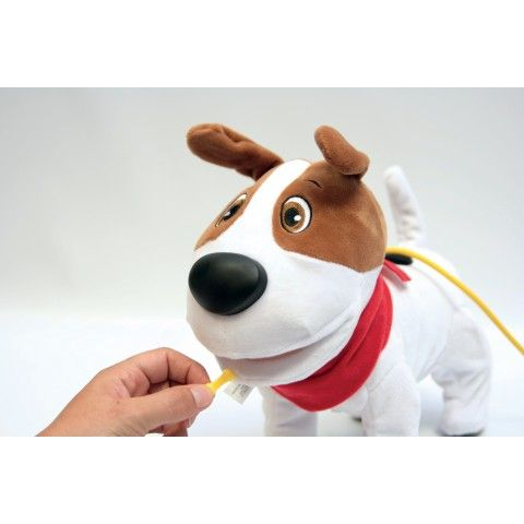 CACAMAX - ADAPTÉ HOP185  Ce chien est un jouet de relation cause à effet qui va déclencher de grands rires en famille ! Il aboie, marche, s'assied, mange des os, fait des « prouts » et des crottes. Livré avec une télécommande/laisse, des os, pelle et balayette.