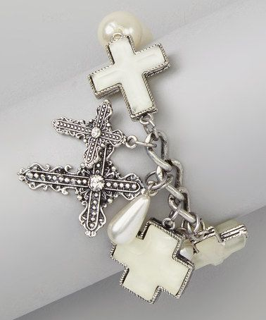 Love this White Pearl Cross Stretch Bracelet by Ethel & Myrtle on #zulily! #zulilyfinds