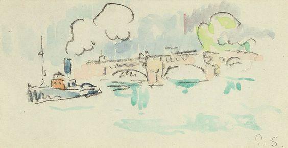 Paul SIGNAC ( 1863-1935) Vue présumée du pont neuf avec bateau à vapeur. Sold 1700 € on www.artprecium.com #ArtAuction