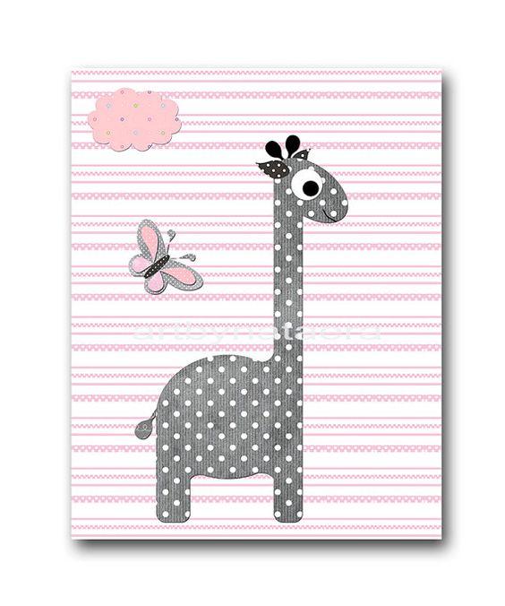 Baby Shower Decor Giraffe Elephant Nursery Decor by artbynataera