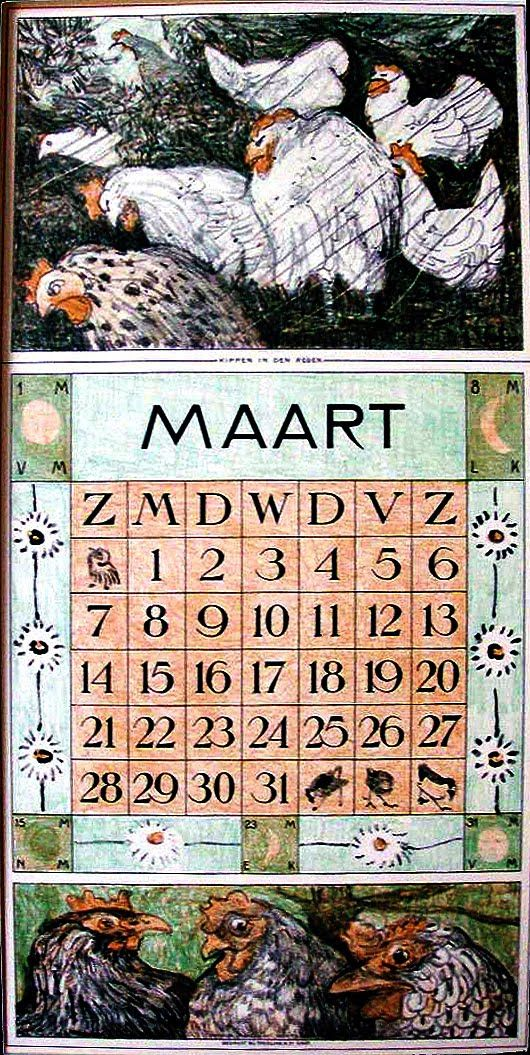 illustration hollandaise : Theo van Hoytema, calendrier, mars 1915, oiseaux, poules, volaille
