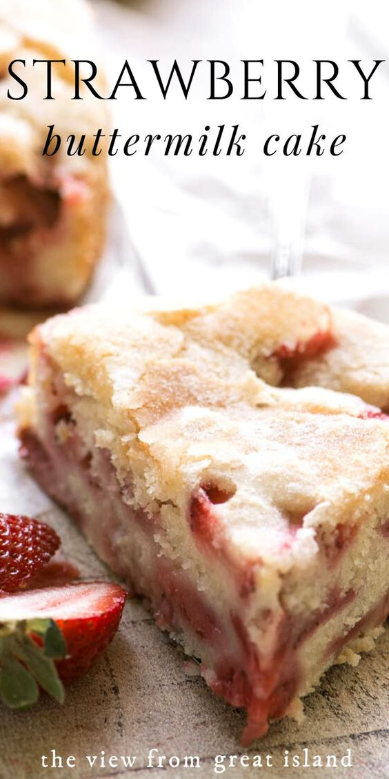 My Strawberry Buttermilk Cake is the perfect strawberry dessert to welcome in spring. It's an easy c
