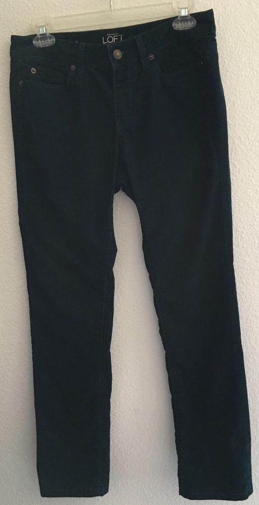 Ann Taylor Loft SZ 6P/28 Cord Pants Modern Straight Green Teal Corduroys Stretch #AnnTaylorLOFT #StraightLeg