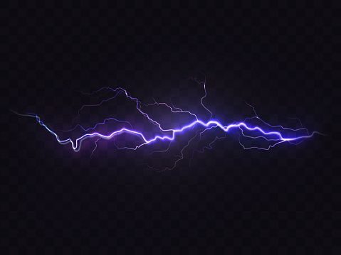Vector Realistic Lightning Isolated On Black Background Natural Vector Free Black Backgrounds Lightning