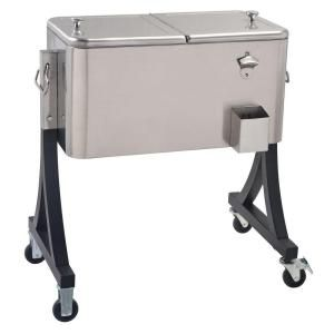 Charming Stainless Steel Patio Cooler Cart