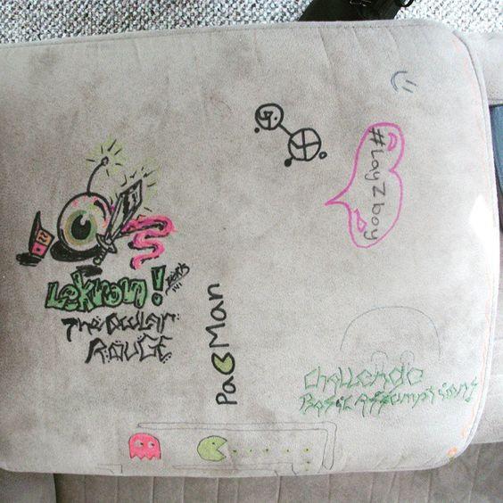 LEKRON! PACMAN! More fabric art graffiti on some dudes lazyboy.  http://www.thugnastyart.com/ #thugnastyart #zork