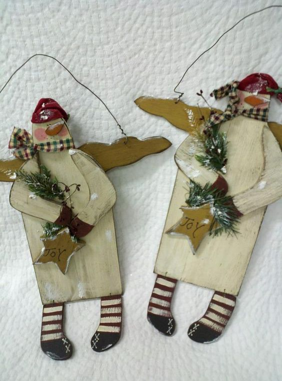"""""""JOY"""" wooden door snowman hanger, handmade USA www.kathysholiday.com"""